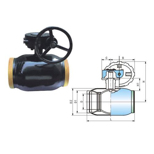 q361f-25c-dn250蜗轮式全焊接球阀图片
